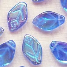 8 x 12mm Czech Glass Leaf Beads Sapphire AB - 25